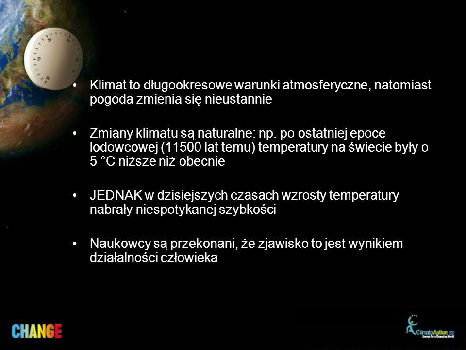 Klimat to długookresowe warunki atmosferyczne, natomiast pogoda zmienia się nieustannie Zmiany klimatu są naturalne: np.
