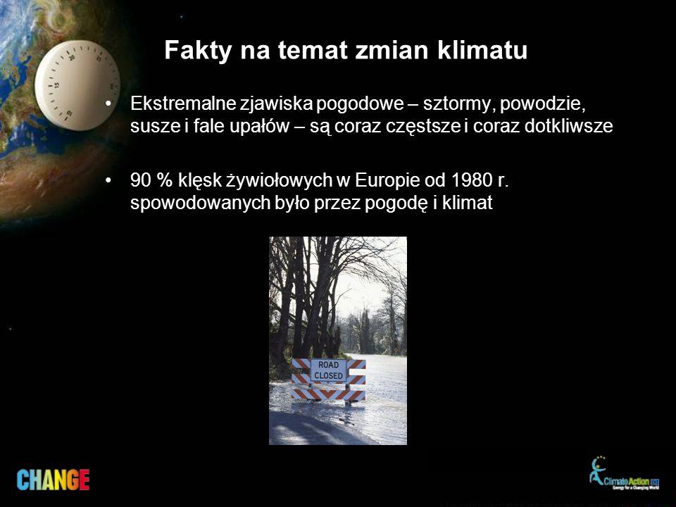 Fakty na temat zmian klimatu Ekstremalne zjawiska pogodowe – sztormy, powodzie, susze i fale upałów – są coraz częstsze i coraz dotkliwsze 90 % klęsk żywiołowych w Europie od 1980 r.