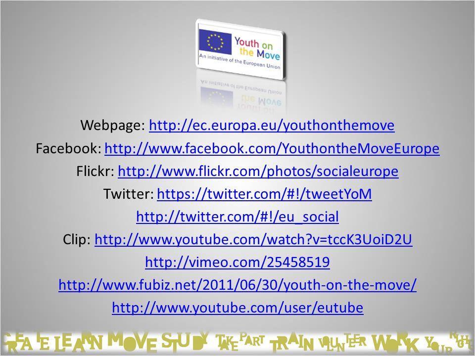 Webpage: http://ec.europa.eu/youthonthemovehttp://ec.europa.eu/youthonthemove Facebook: http://www.facebook.com/YouthontheMoveEuropehttp://www.faceboo