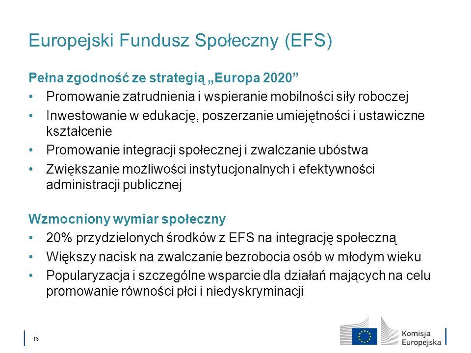 16 Europejski Fundusz Społeczny (EFS) Pełna zgodność ze strategią Europa 2020 Promowanie zatrudnienia i wspieranie mobilności siły roboczej Inwestowanie w edukację, poszerzanie umiejętności i ustawiczne kształcenie Promowanie integracji społecznej i zwalczanie ubóstwa Zwiększanie możliwości instytucjonalnych i efektywności administracji publicznej Wzmocniony wymiar społeczny 20% przydzielonych środków z EFS na integrację społeczną Większy nacisk na zwalczanie bezrobocia osób w młodym wieku Popularyzacja i szczególne wsparcie dla działań mających na celu promowanie równości płci i niedyskryminacji