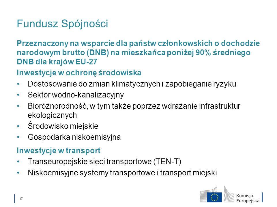 17 Fundusz Spójności Przeznaczony na wsparcie dla państw członkowskich o dochodzie narodowym brutto (DNB) na mieszkańca poniżej 90% średniego DNB dla