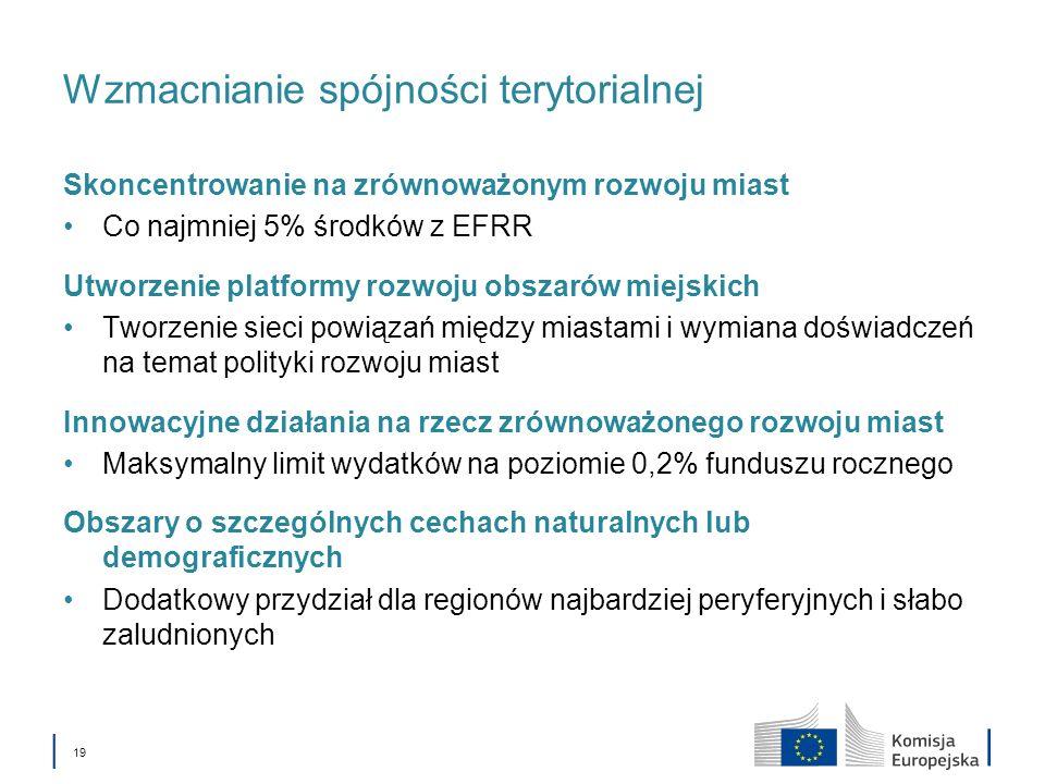 19 Wzmacnianie spójności terytorialnej Skoncentrowanie na zrównoważonym rozwoju miast Co najmniej 5% środków z EFRR Utworzenie platformy rozwoju obsza