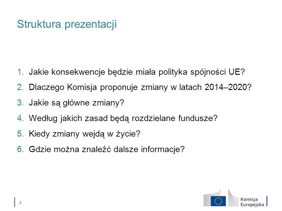 2 Struktura prezentacji 1.Jakie konsekwencje będzie miała polityka spójności UE? 2.Dlaczego Komisja proponuje zmiany w latach 2014–2020? 3.Jakie są gł