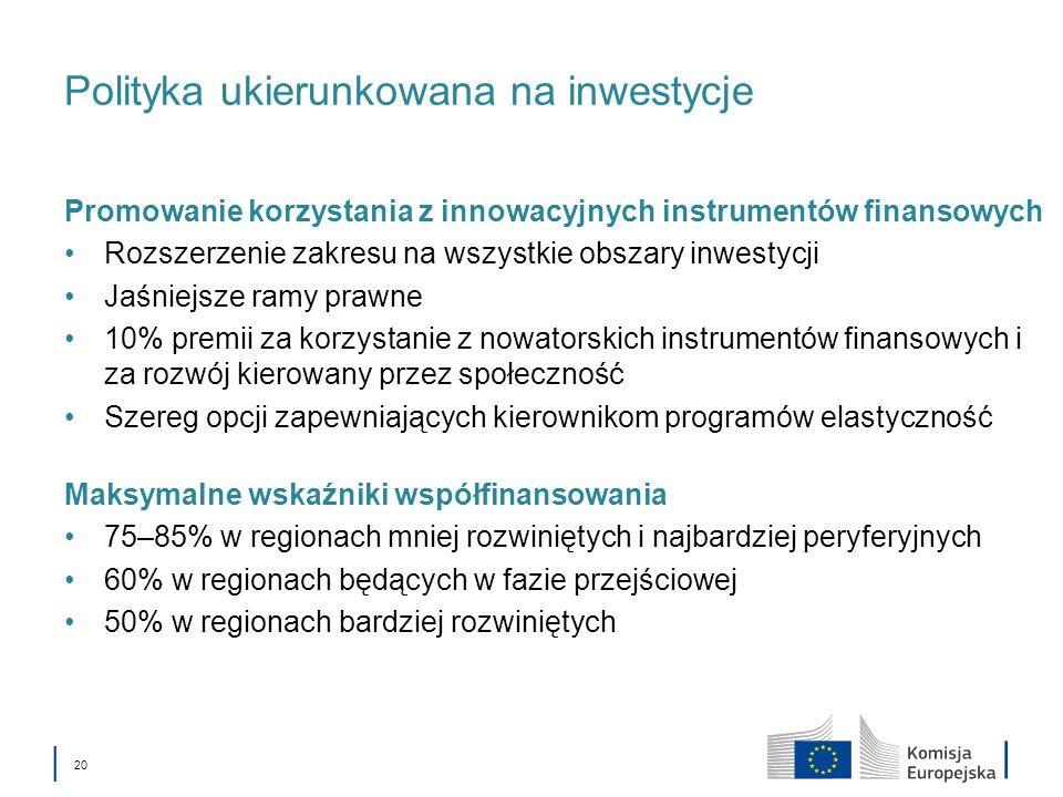 20 Polityka ukierunkowana na inwestycje Promowanie korzystania z innowacyjnych instrumentów finansowych Rozszerzenie zakresu na wszystkie obszary inwestycji Jaśniejsze ramy prawne 10% premii za korzystanie z nowatorskich instrumentów finansowych i za rozwój kierowany przez społeczność Szereg opcji zapewniających kierownikom programów elastyczność Maksymalne wskaźniki współfinansowania 75–85% w regionach mniej rozwiniętych i najbardziej peryferyjnych 60% w regionach będących w fazie przejściowej 50% w regionach bardziej rozwiniętych