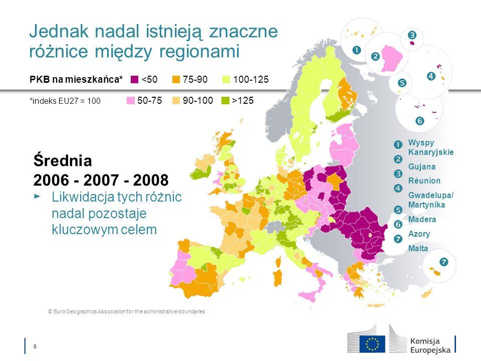 6 Jednak nadal istnieją znaczne różnice między regionami Średnia 2006 - 2007 - 2008 Likwidacja tych różnic nadal pozostaje kluczowym celem PKB na mies