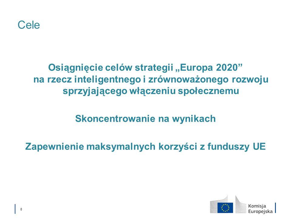 8 Cele Osiągnięcie celów strategii Europa 2020 na rzecz inteligentnego i zrównoważonego rozwoju sprzyjającego włączeniu społecznemu Skoncentrowanie na