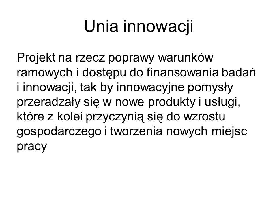 Unia innowacji Projekt na rzecz poprawy warunków ramowych i dostępu do finansowania badań i innowacji, tak by innowacyjne pomysły przeradzały się w no