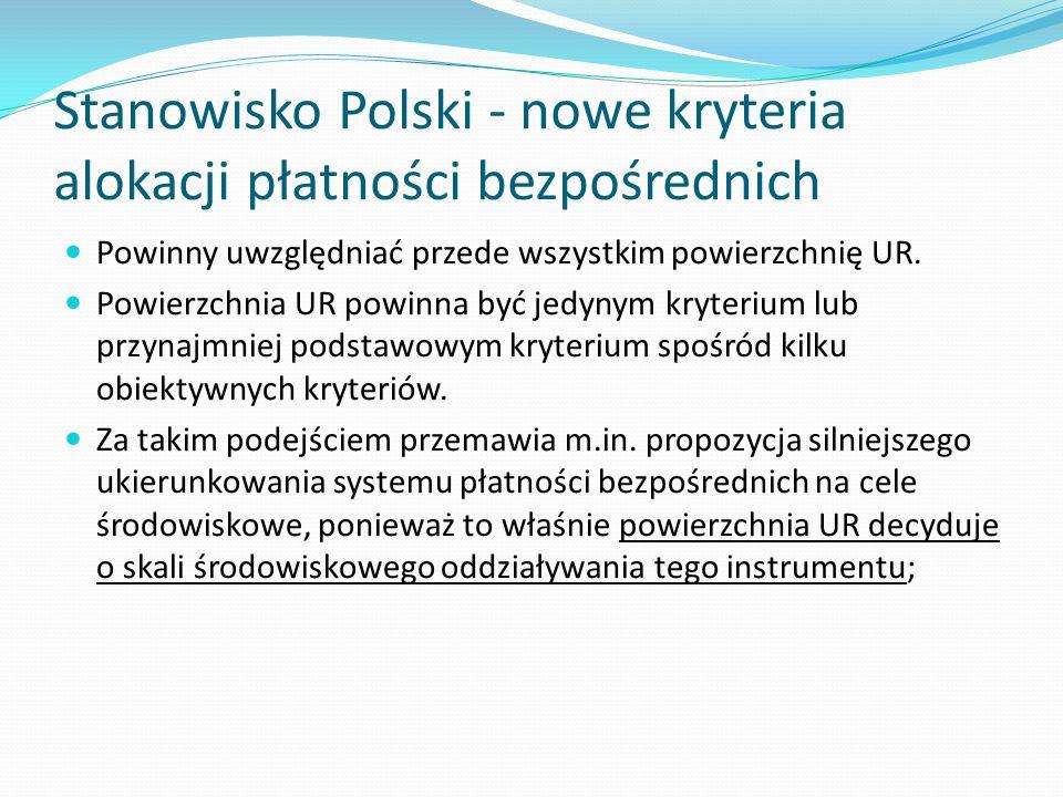 Stanowisko Polski - nowe kryteria alokacji płatności bezpośrednich Powinny uwzględniać przede wszystkim powierzchnię UR. Powierzchnia UR powinna być j