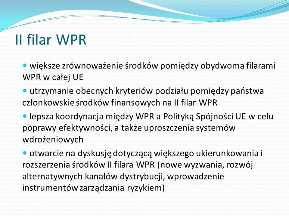 II filar WPR większe zrównoważenie środków pomiędzy obydwoma filarami WPR w całej UE utrzymanie obecnych kryteriów podziału pomiędzy państwa członkows