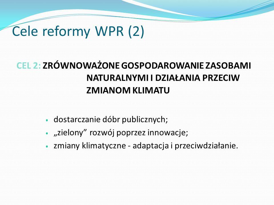 CEL 2: ZRÓWNOWAŻONE GOSPODAROWANIE ZASOBAMI NATURALNYMI I DZIAŁANIA PRZECIW ZMIANOM KLIMATU dostarczanie dóbr publicznych; zielony rozwój poprzez inno
