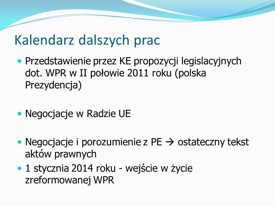 Kalendarz dalszych prac Przedstawienie przez KE propozycji legislacyjnych dot. WPR w II połowie 2011 roku (polska Prezydencja) Negocjacje w Radzie UE