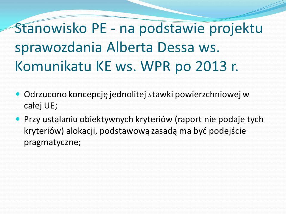 Stanowisko PE - na podstawie projektu sprawozdania Alberta Dessa ws. Komunikatu KE ws. WPR po 2013 r. Odrzucono koncepcję jednolitej stawki powierzchn