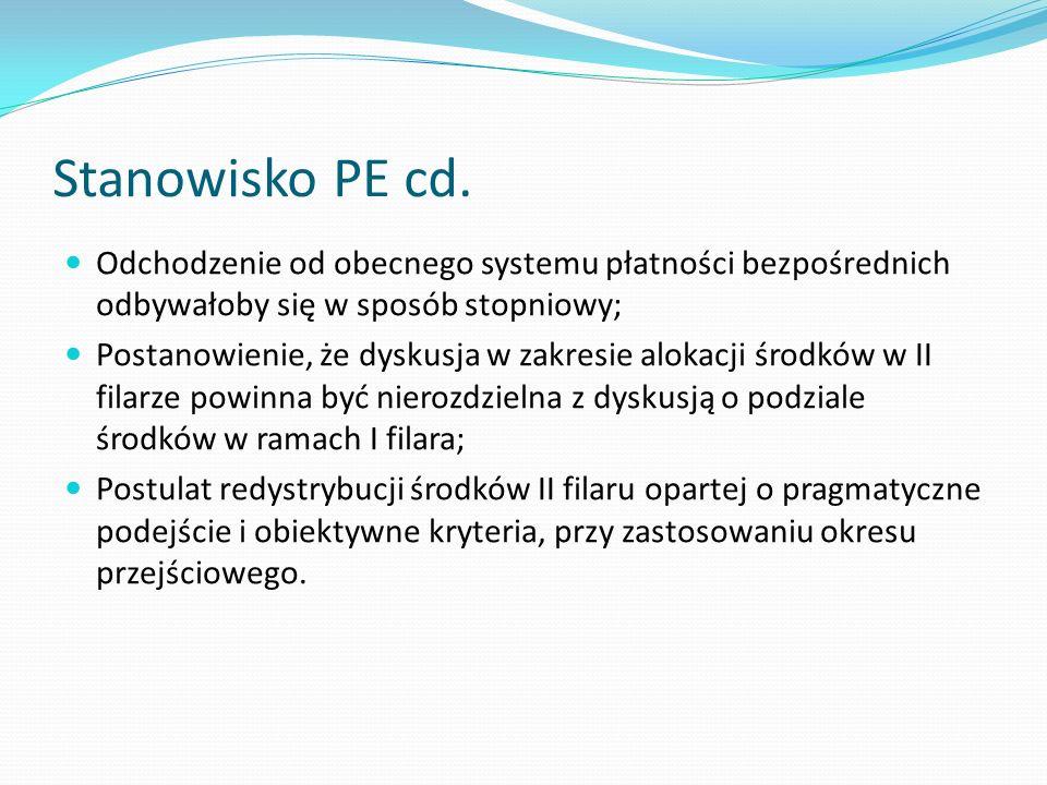 Stanowisko PE cd. Odchodzenie od obecnego systemu płatności bezpośrednich odbywałoby się w sposób stopniowy; Postanowienie, że dyskusja w zakresie alo