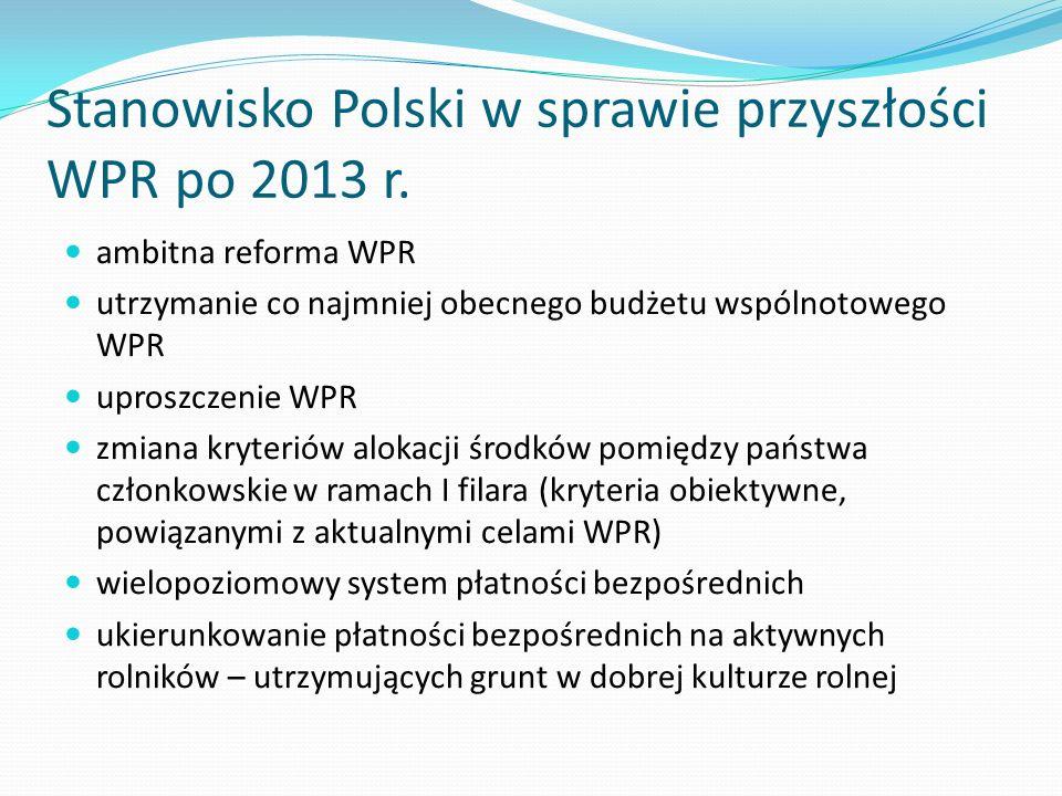 Stanowisko Polski w sprawie przyszłości WPR po 2013 r. ambitna reforma WPR utrzymanie co najmniej obecnego budżetu wspólnotowego WPR uproszczenie WPR