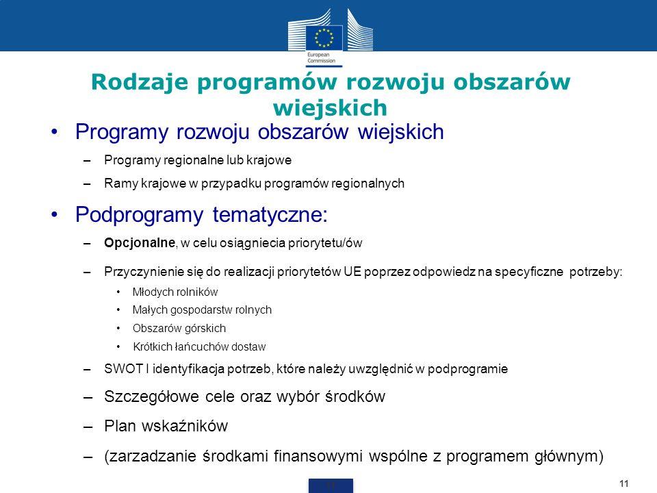 Rodzaje programów rozwoju obszarów wiejskich 11 Programy rozwoju obszarów wiejskich –Programy regionalne lub krajowe –Ramy krajowe w przypadku program