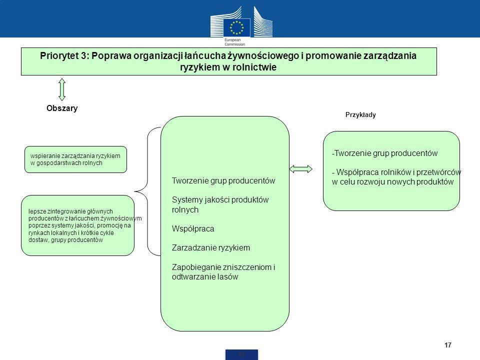 17 Priorytet 3: Poprawa organizacji łańcucha żywnościowego i promowanie zarządzania ryzykiem w rolnictwie Tworzenie grup producentów Systemy jakości p