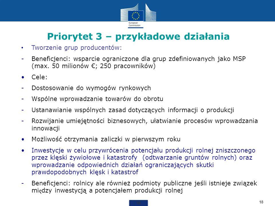 Priorytet 3 – przykładowe działania 18 Tworzenie grup producentów: -Beneficjenci: wsparcie ograniczone dla grup zdefiniowanych jako MSP (max. 50 milio