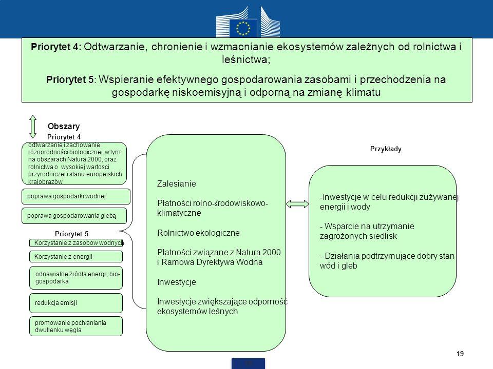 19 Priorytet 4: Odtwarzanie, chronienie i wzmacnianie ekosystemów zależnych od rolnictwa i leśnictwa; Priorytet 5: Wspieranie efektywnego gospodarowan