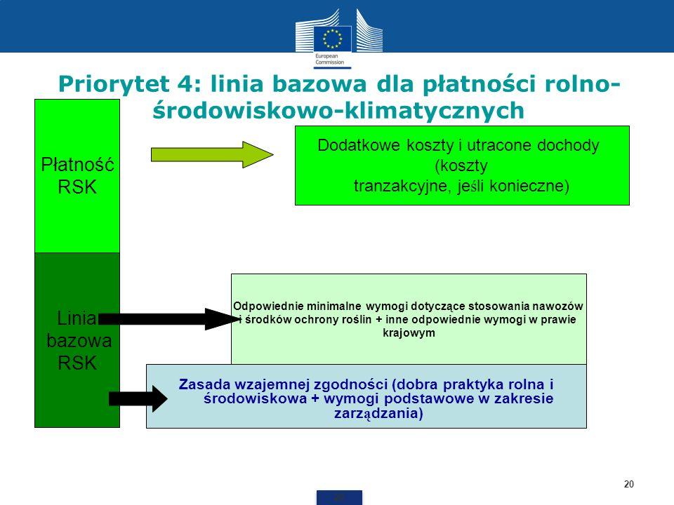 Priorytet 4: linia bazowa dla płatności rolno- środowiskowo-klimatycznych 20 Zasada wzajemnej zgodności (dobra praktyka rolna i środowiskowa + wymogi