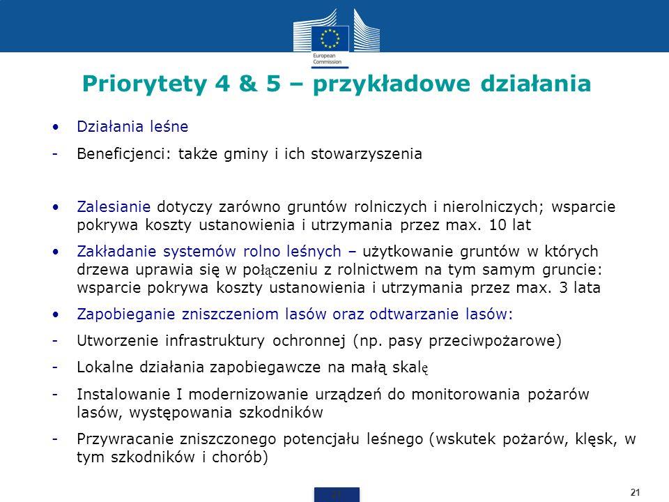 Priorytety 4 & 5 – przykładowe działania 21 Działania leśne -Beneficjenci: także gminy i ich stowarzyszenia Zalesianie dotyczy zarówno gruntów rolnicz