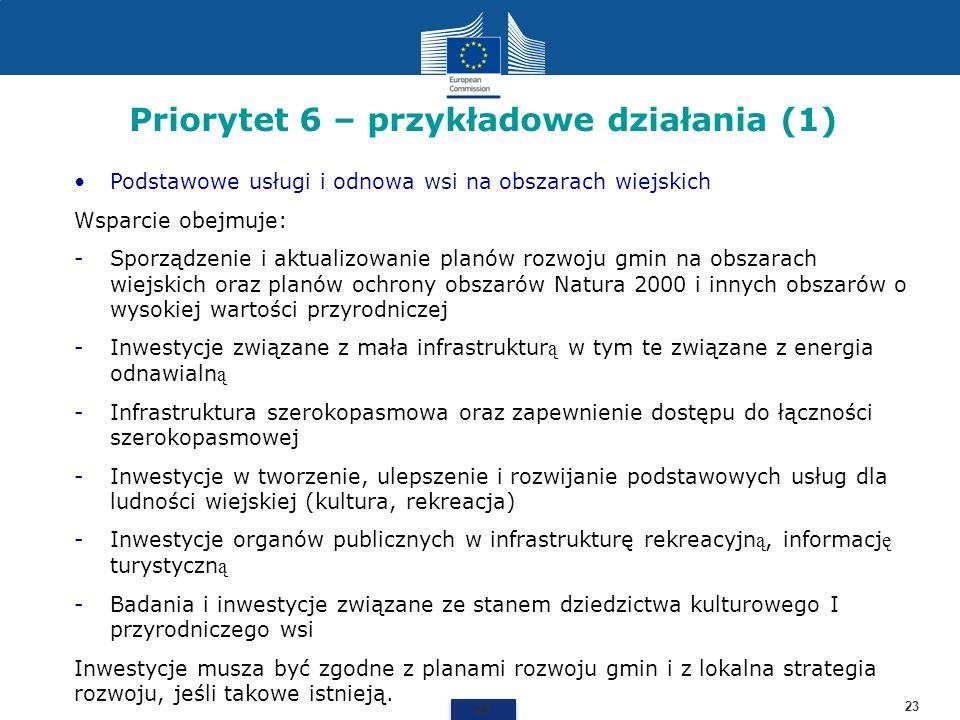 Priorytet 6 – przykładowe działania (1) 23 Podstawowe usługi i odnowa wsi na obszarach wiejskich Wsparcie obejmuje: -Sporządzenie i aktualizowanie pla
