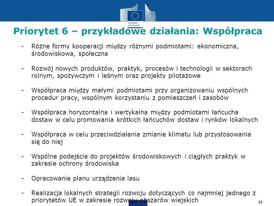 Priorytet 6 – przykładowe działania: Współpraca 24 -Różne formy kooperacji mi ę dzy różnymi podmiotami: ekonomiczna, środowiskowa, społeczna -Rozwój n
