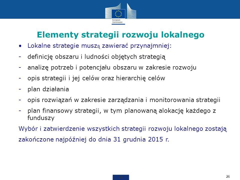 Elementy strategii rozwoju lokalnego 26 Lokalne strategie musz ą zawierać przynajmniej: -definicję obszaru i ludności objętych strategią -analizę potr