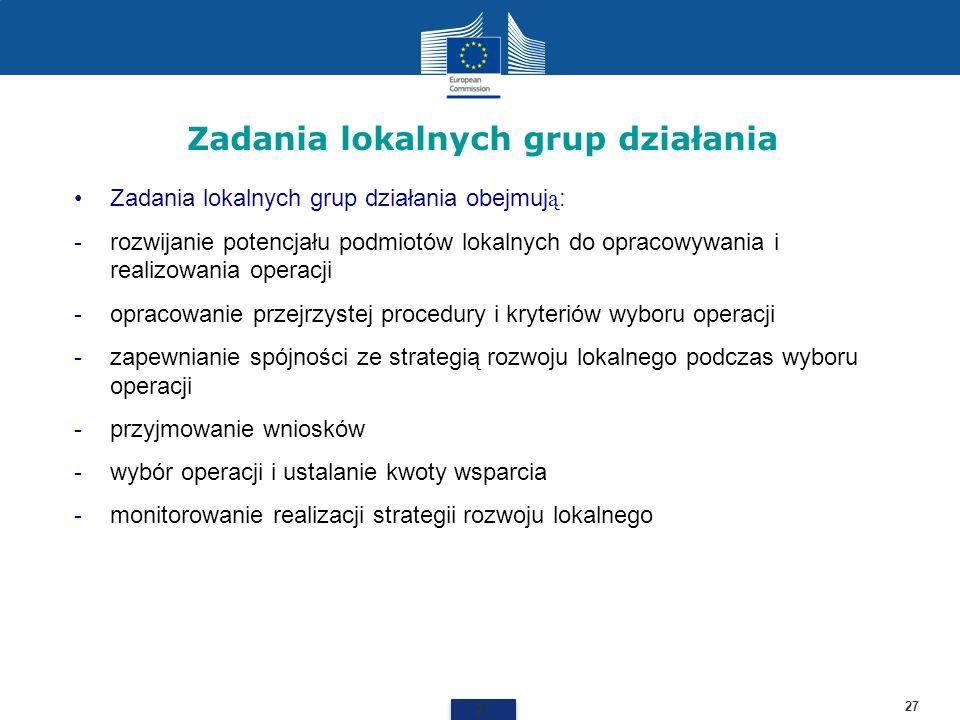 Zadania lokalnych grup działania 27 Zadania lokalnych grup działania obejmuj ą : -rozwijanie potencjału podmiotów lokalnych do opracowywania i realizo