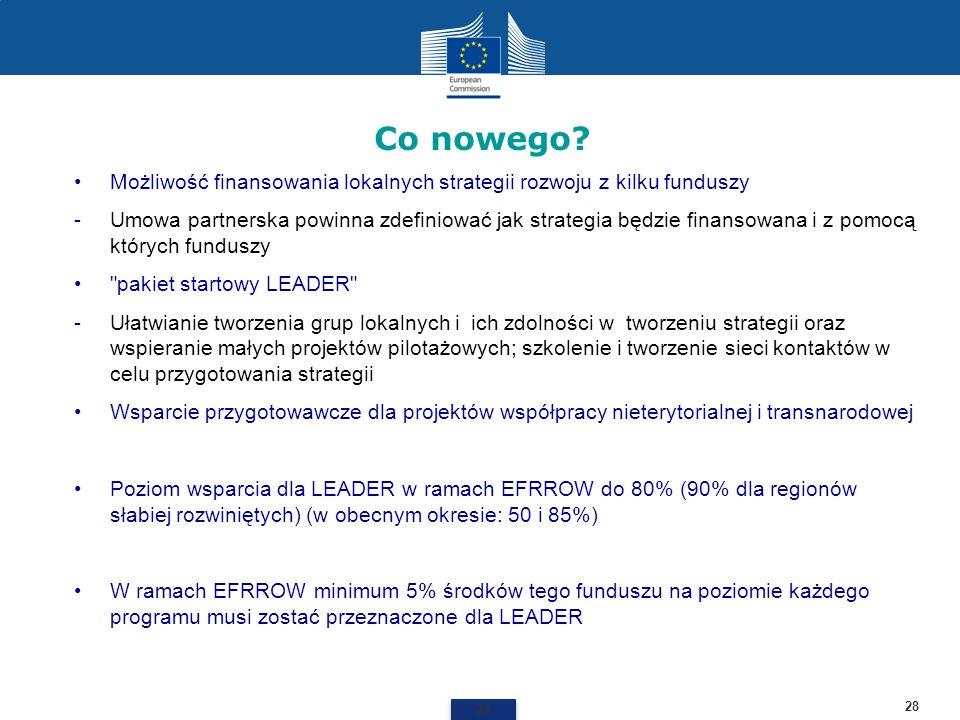 Co nowego? 28 Możliwość finansowania lokalnych strategii rozwoju z kilku funduszy -Umowa partnerska powinna zdefiniować jak strategia będzie finansowa