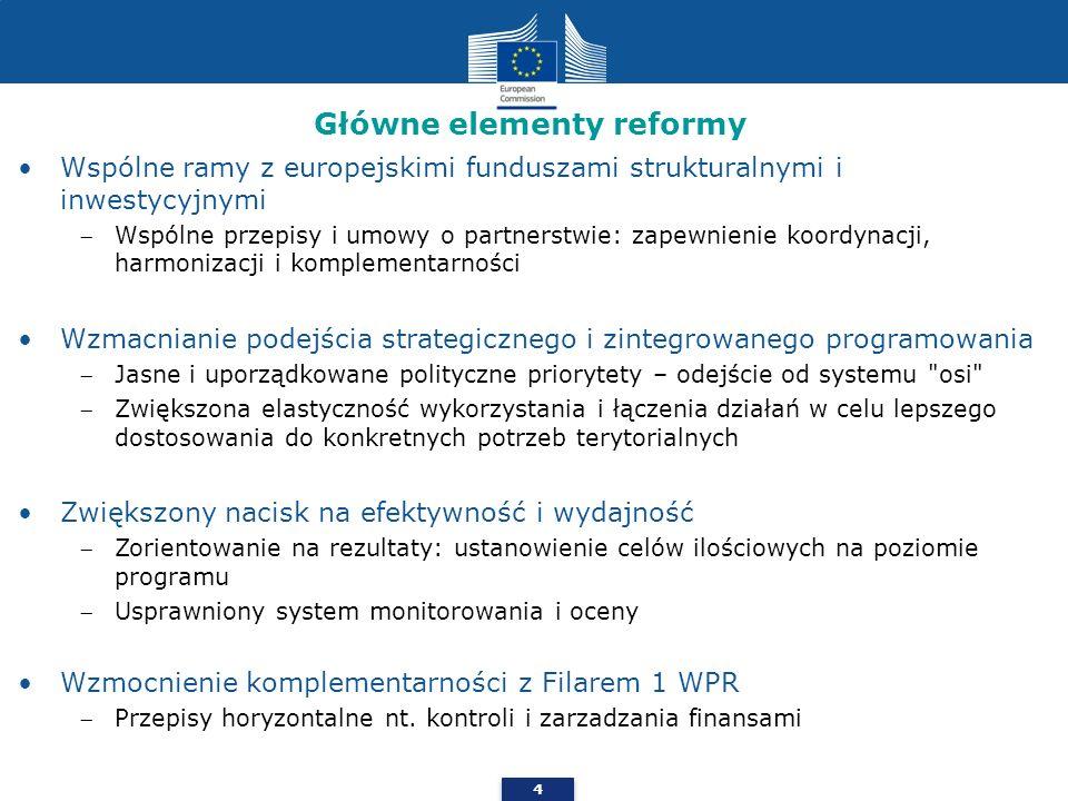 4 Główne elementy reformy Wspólne ramy z europejskimi funduszami strukturalnymi i inwestycyjnymi Wspólne przepisy i umowy o partnerstwie: zapewnienie