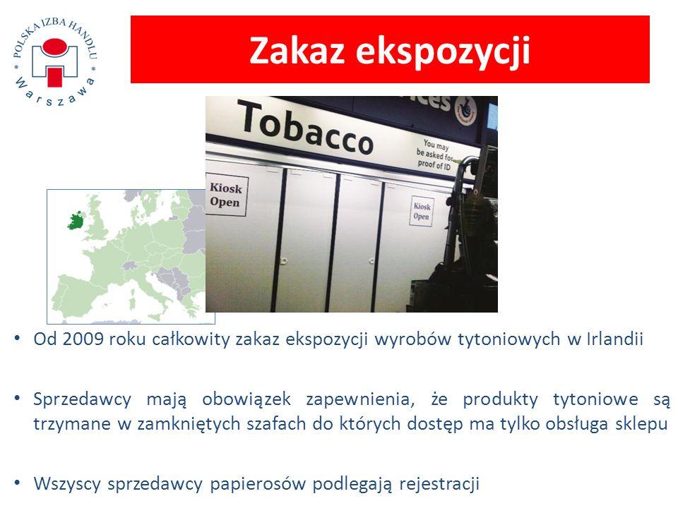 Od 2009 roku całkowity zakaz ekspozycji wyrobów tytoniowych w Irlandii Sprzedawcy mają obowiązek zapewnienia, że produkty tytoniowe są trzymane w zamk