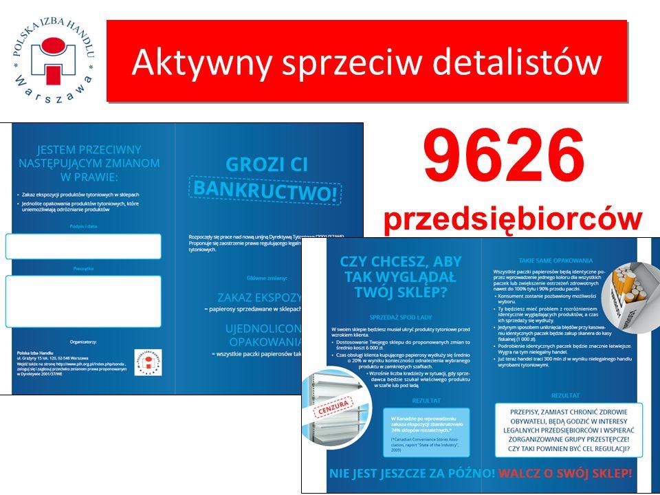 Aktywny sprzeciw detalistów 9626 przedsiębiorców