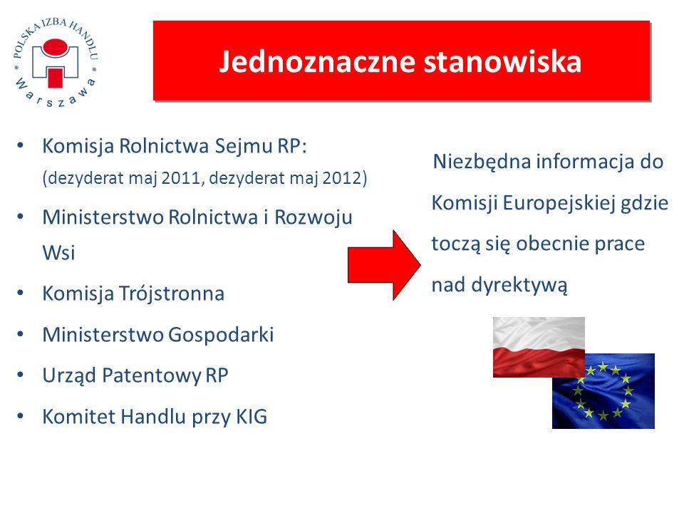 Jednoznaczne stanowiska Komisja Rolnictwa Sejmu RP: (dezyderat maj 2011, dezyderat maj 2012) Ministerstwo Rolnictwa i Rozwoju Wsi Komisja Trójstronna