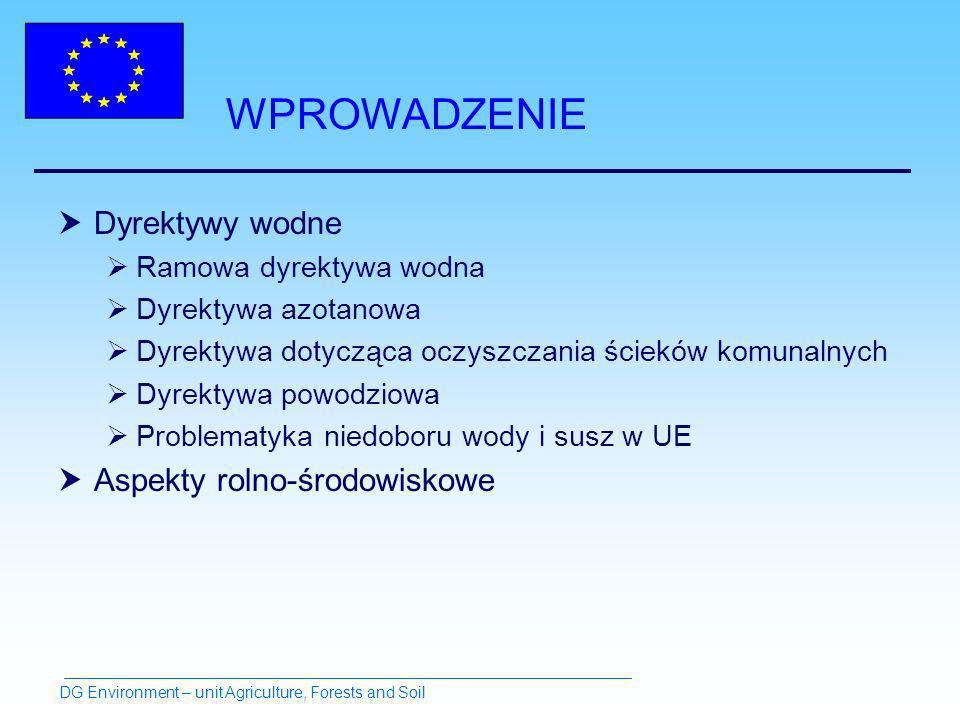 WPROWADZENIE Dyrektywy wodne Ramowa dyrektywa wodna Dyrektywa azotanowa Dyrektywa dotycząca oczyszczania ścieków komunalnych Dyrektywa powodziowa Problematyka niedoboru wody i susz w UE Aspekty rolno-środowiskowe DG Environment – unit Agriculture, Forests and Soil