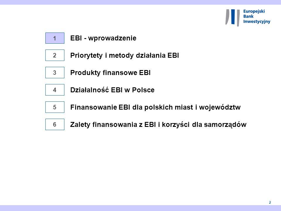 2 1 2 3 4 5 EBI - wprowadzenie Finansowanie EBI dla polskich miast i województw Priorytety i metody działania EBI Działalność EBI w Polsce Produkty fi
