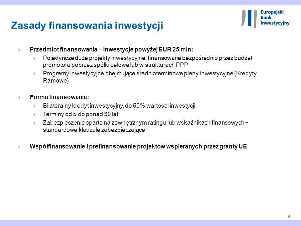 9 Przedmiot finansowania – inwestycje powyżej EUR 25 mln: Pojedyncze duże projekty inwestycyjne, finansowane bezpośrednio przez budżet promotora poprz