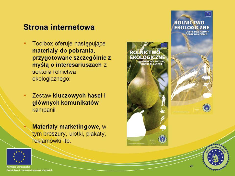 20 Strona internetowa Toolbox oferuje następujące materiały do pobrania, przygotowane szczególnie z myślą o interesariuszach z sektora rolnictwa ekolo