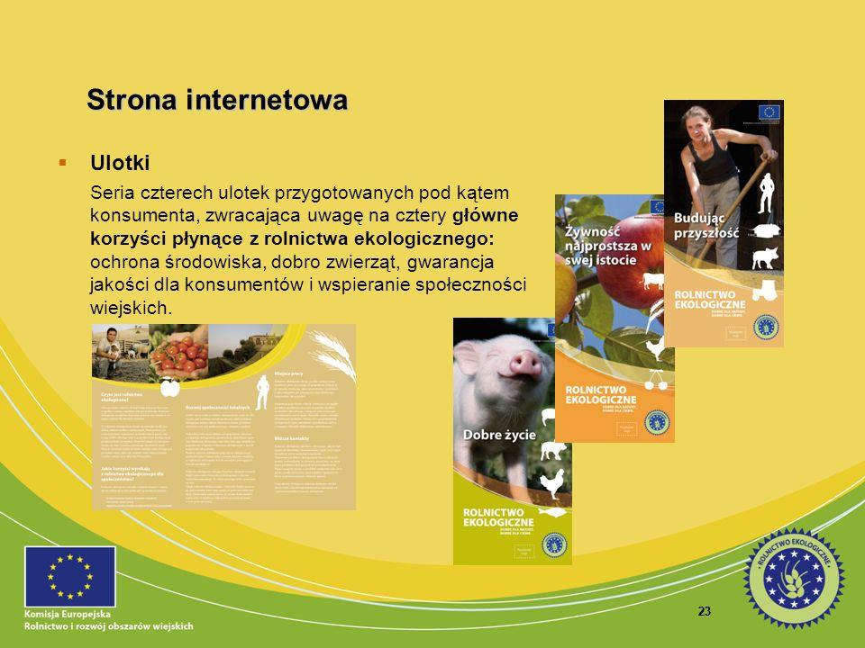 23 Ulotki Seria czterech ulotek przygotowanych pod kątem konsumenta, zwracająca uwagę na cztery główne korzyści płynące z rolnictwa ekologicznego: och