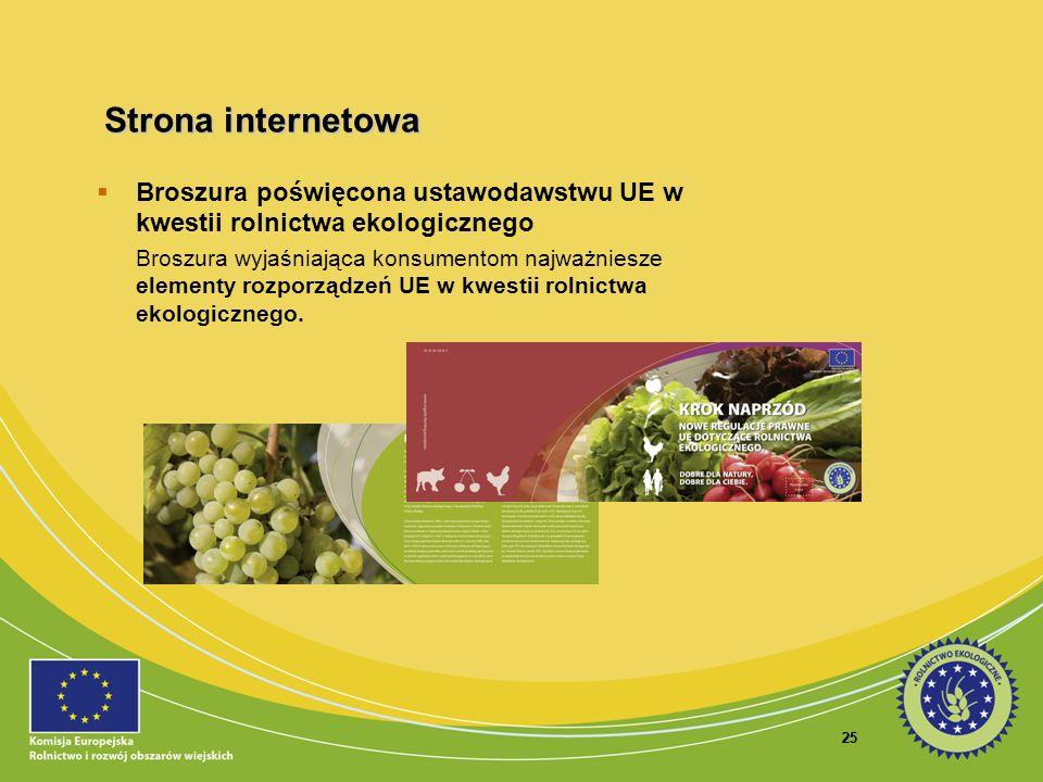 25 Broszura poświęcona ustawodawstwu UE w kwestii rolnictwa ekologicznego Broszura wyjaśniająca konsumentom najważniesze elementy rozporządzeń UE w kw