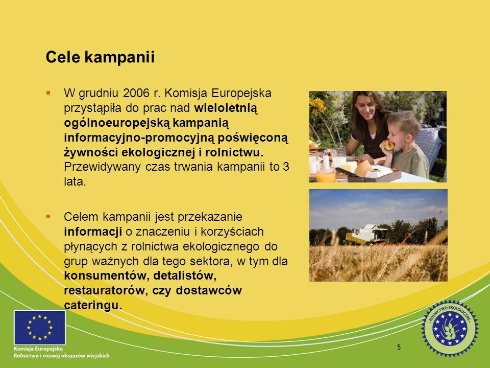 6 Cele kampanii Ponadto, kampania ma na celu zwiększenie świadomości konsumenckiej w zakresie rolnictwa ekologicznego, a także podniesienie poziomu zaufania i rozpoznawalności europejskiego logo rolnictwa ekologicznego.