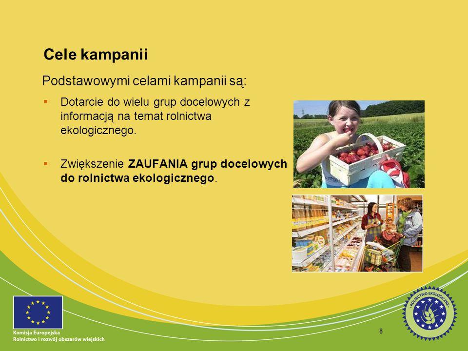 8 Cele kampanii Dotarcie do wielu grup docelowych z informacją na temat rolnictwa ekologicznego. Zwiększenie ZAUFANIA grup docelowych do rolnictwa eko