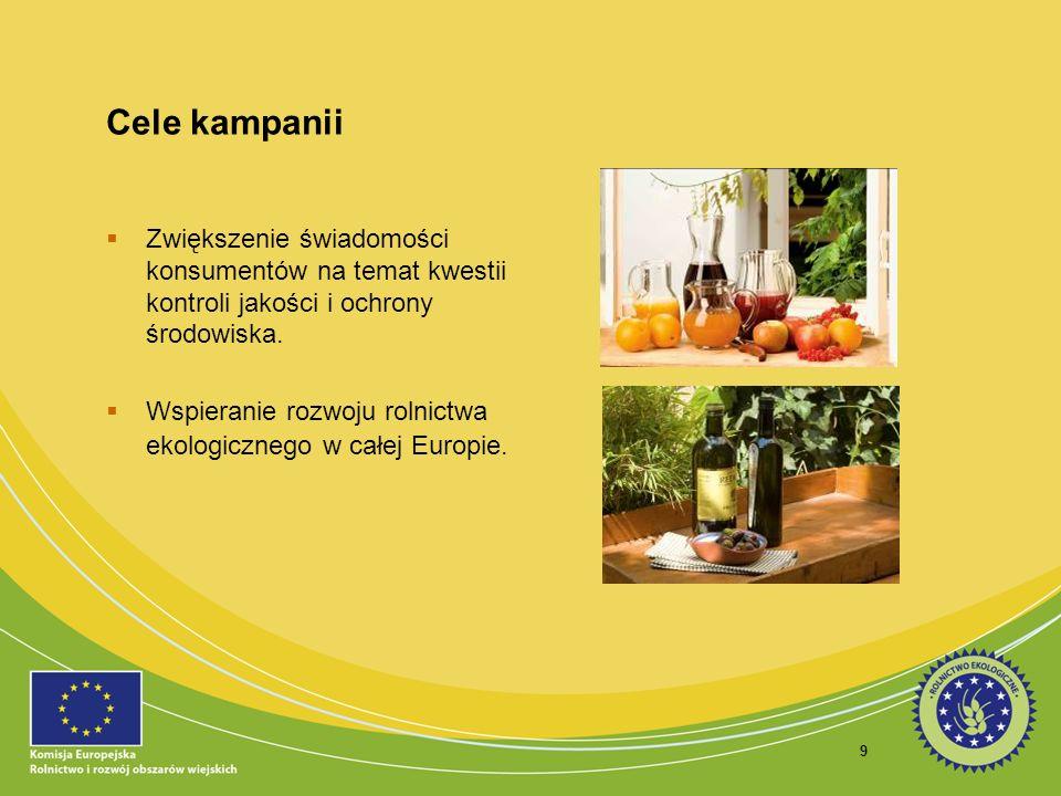 9 Cele kampanii Zwiększenie świadomości konsumentów na temat kwestii kontroli jakości i ochrony środowiska. Wspieranie rozwoju rolnictwa ekologicznego