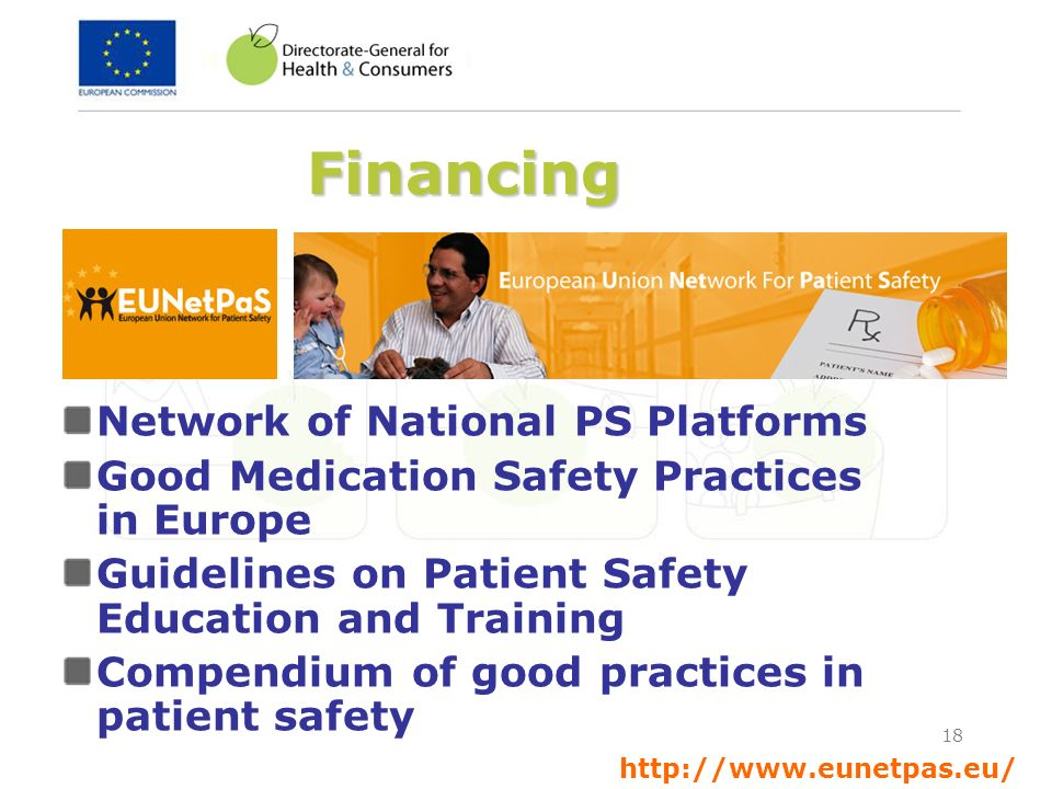 18 Financing Network of National PS Platforms Good Medication Safety Practices in Europe Guidelines on Patient Safety Education and Training Compendiu