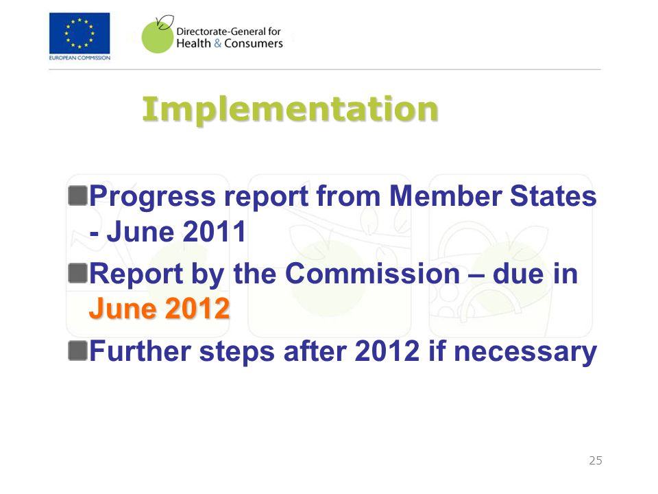 25 Implementation Progress report from Member States - June 2011 June 2012 Report by the Commission – due in June 2012 Further steps after 2012 if nec