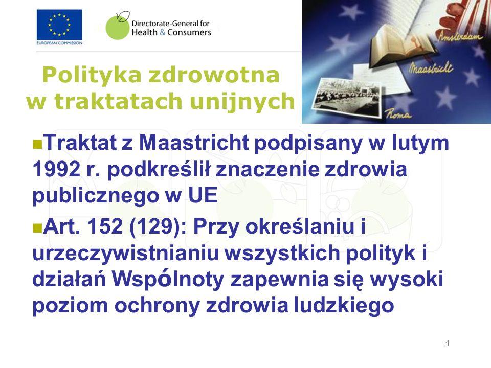 4 Polityka zdrowotna w traktatach unijnych Traktat z Maastricht podpisany w lutym 1992 r. podkreślił znaczenie zdrowia publicznego w UE Art. 152 (129)