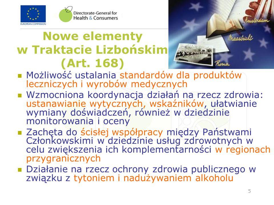 5 Nowe elementy w Traktacie Lizbońskim (Art. 168) Możliwość ustalania standardów dla produktów leczniczych i wyrobów medycznych Wzmocniona koordynacja