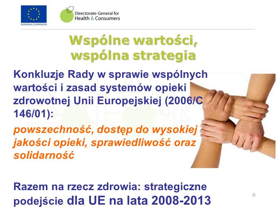 7 Europejska Strategia dla Zdrowia 2008-2013 Cztery zasady działania: Strategia oparta na wsp ó lnych wartościach « Zdrowie – nasz największy skarb » Zdrowie we wszystkich obszarach polityki Ochrona zdrowia w skali światowej Trzy cele strategiczne: Propagowanie zdrowia w starzejącej się Europie Ochrona obywateli przed zagrożeniami Wspieranie dynamicznych system ó w zdrowotnych i nowych technologii