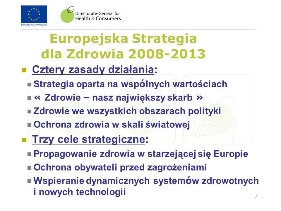 7 Europejska Strategia dla Zdrowia 2008-2013 Cztery zasady działania: Strategia oparta na wsp ó lnych wartościach « Zdrowie – nasz największy skarb »