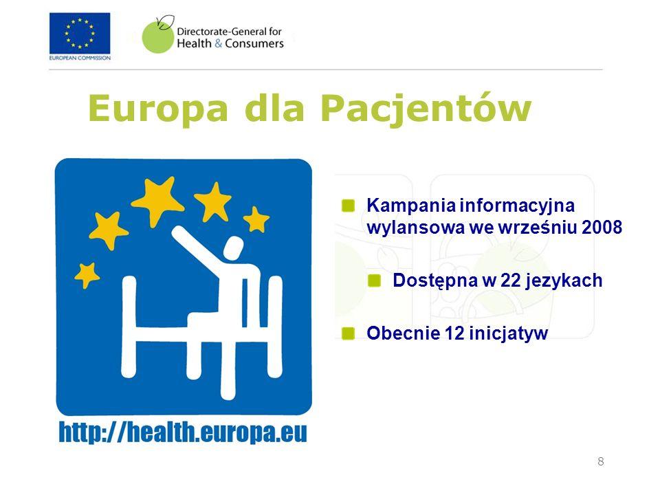 8 Europa dla Pacjentów Kampania informacyjna wylansowa we wrześniu 2008 Dostępna w 22 jezykach Obecnie 12 inicjatyw