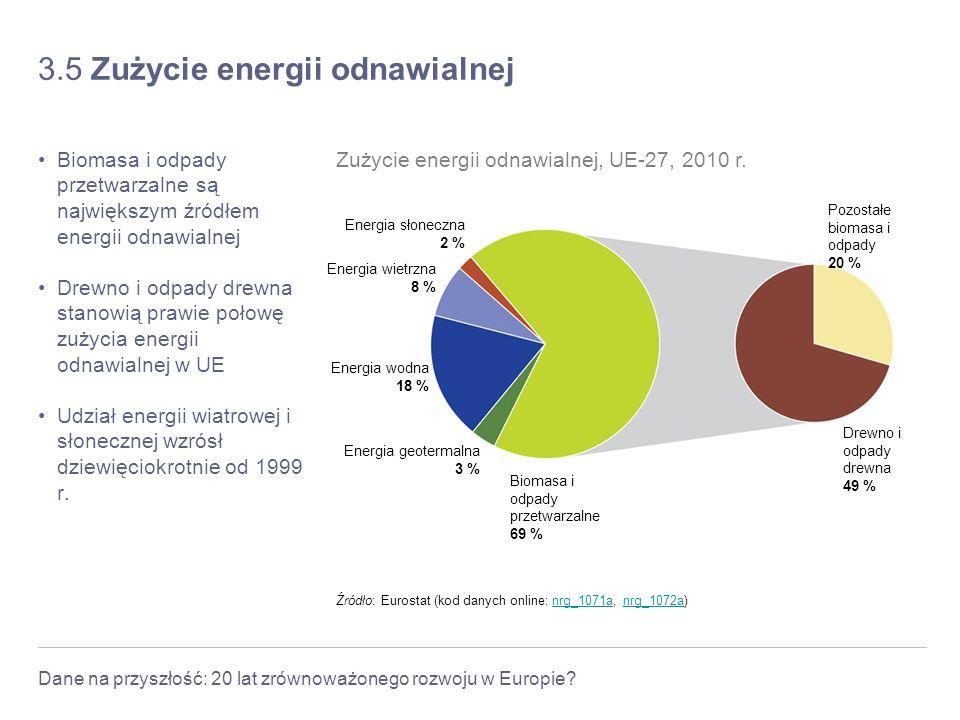 Dane na przyszłość: 20 lat zrównoważonego rozwoju w Europie? 3.5 Zużycie energii odnawialnej Biomasa i odpady przetwarzalne są największym źródłem ene